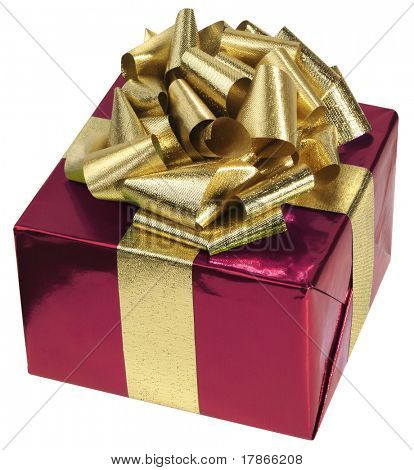 Gift box with red foil paper and golden metallic ribbon.