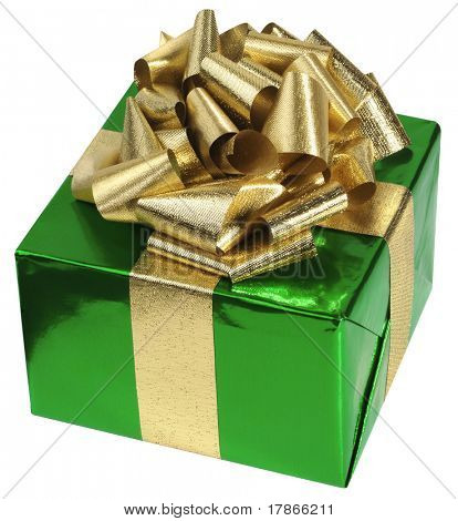 Gift box with green foil paper and golden metallic ribbon.