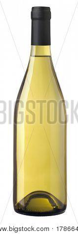 isoliert Flasche Chardonnay Wein bereit für Etiketten einfügen. Clipping Path enthalten.