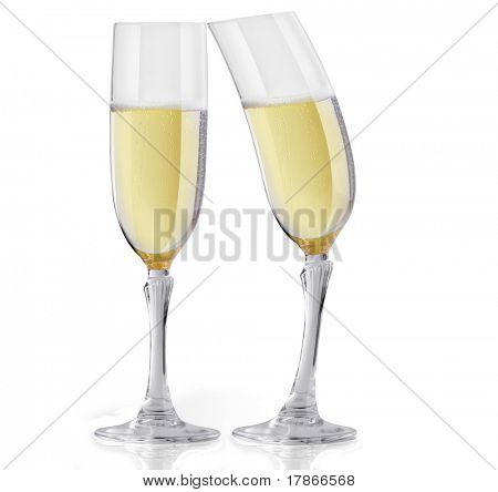 Two Champagne glasses in a flirting act