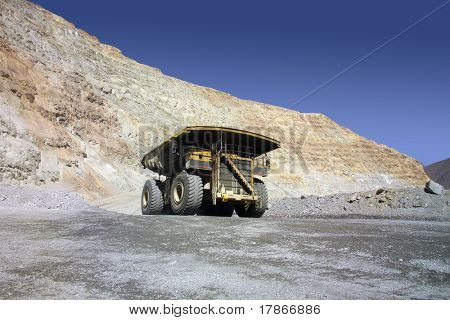 A picture of a big mining truck taken at a copper