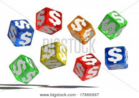 3D dice with money symbols
