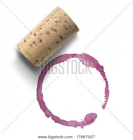 Kork und Rotwein Fleck über white background