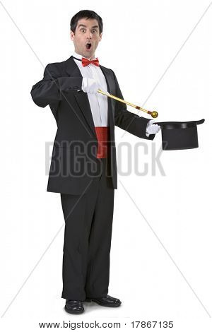 Magician holding a magic wand and a hat