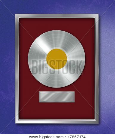 Platinum record mounted on a metallic frame with bordeaux background