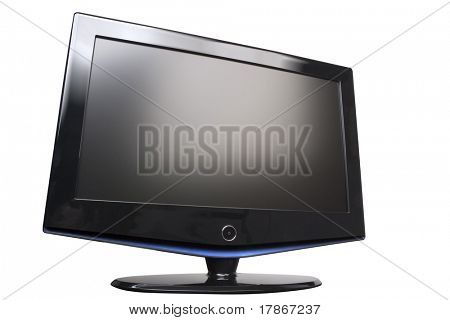 Flat panel plasma/LCD television monitor, angled, isolated