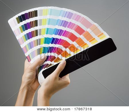 Photo of a young woman's hands holding a color guide