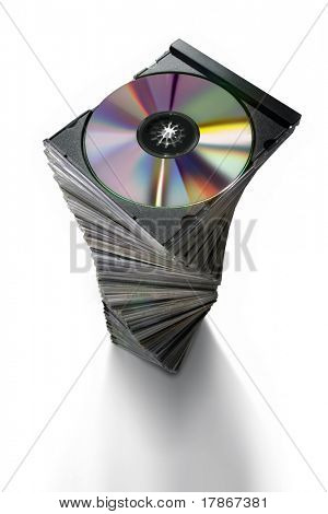 Pile CD boxes on white background
