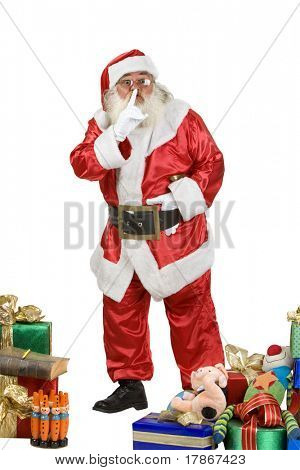 A real Santa Claus shushing