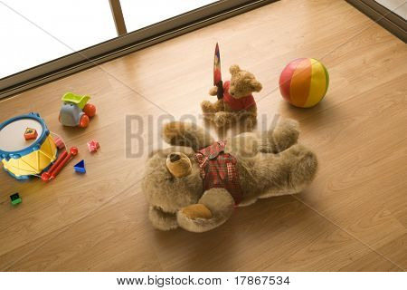 Toy teddy bears in a assassination scene