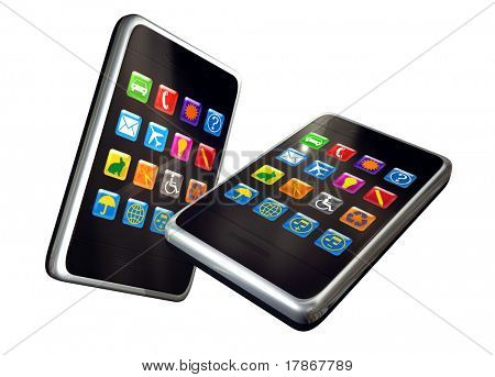 Digitally generated touch screen phones