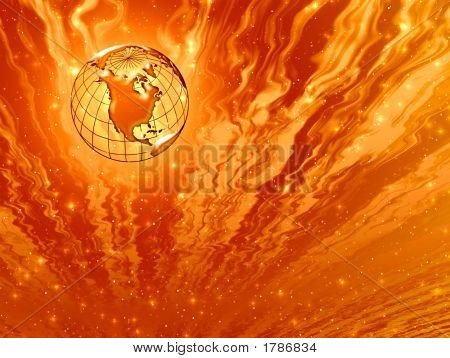 Abstraction Fiery Ilustration With Planet