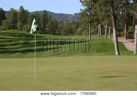 Nice Golf Shot With Ball Close To Pin