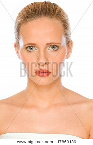 Portrait of fresh and sensual woman with beautiful brown eyes isolated on white