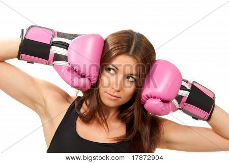 Portrait Of Pretty Boxing Woman In Pink Gloves