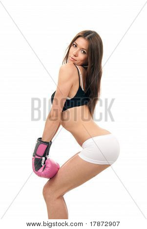 Sexy Woman In Box Gloves On Hands