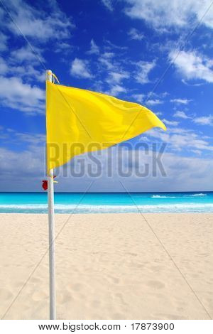 Beach yellow flag weather wind advice Caribbean turquoise sea
