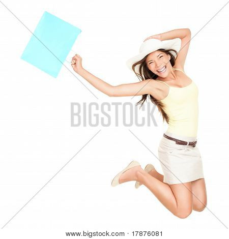 Summer Shopping Woman Jumping