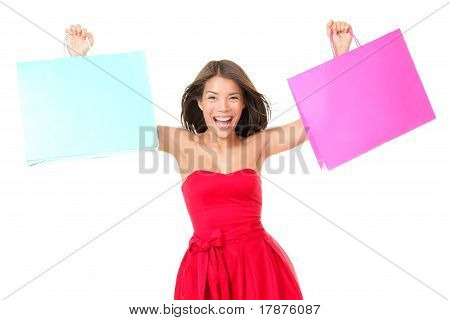 Shopping Bags Woman Excited