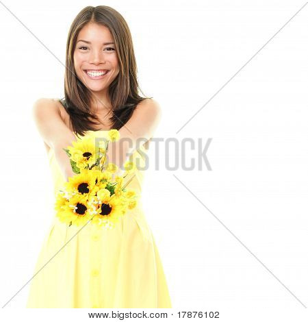 Woman Smiling Showing Flowers