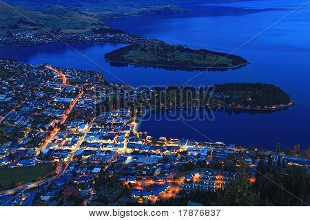Queenstown Cityscape At Dusk