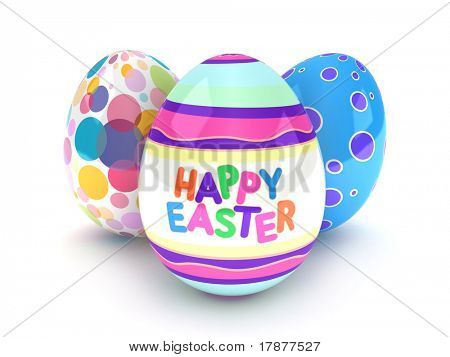 3D Illustration of Easter Eggs with Easter Greetings