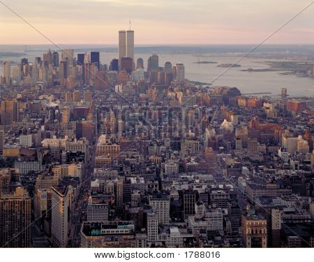 Aerial View Of Manhattan And World Center At Dawn From Empire State Building