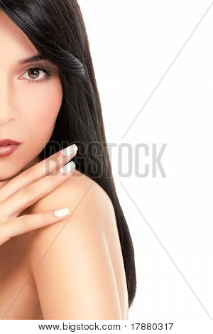 Beauty Portrait Of A Young Woman, Looking Over Her Shoulder