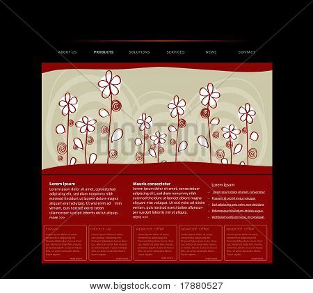 Website Template With Handdrawn Flowers