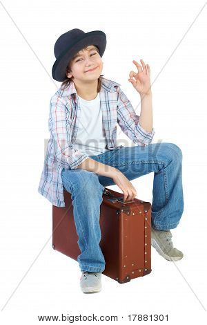 Boy With Hat And Suitcase