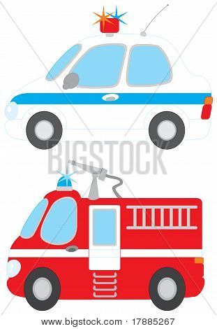 Police car and fire engine