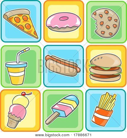 Vector Illustration of Junk Food
