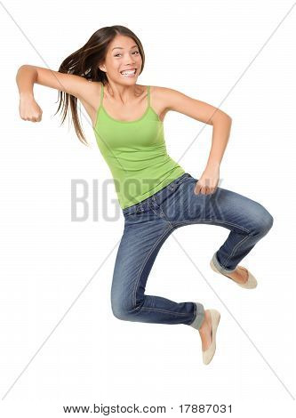 Jumping Woman Funny Isolated