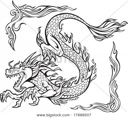 Vector Illustration of a Fire Dragon with Tribal Borders