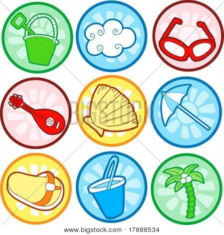 Beach Icons Vector Illustrations