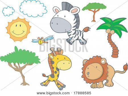 Ilustração do vetor de animais do Safari