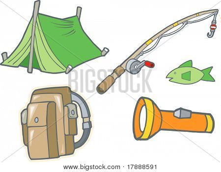 Vector Illustration of Camping Equipment