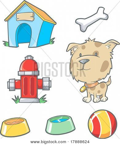 Vector Illustration of Dog and Objects