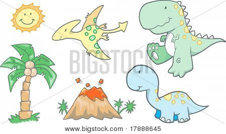 Baby Dinosaurs Vector Illustration