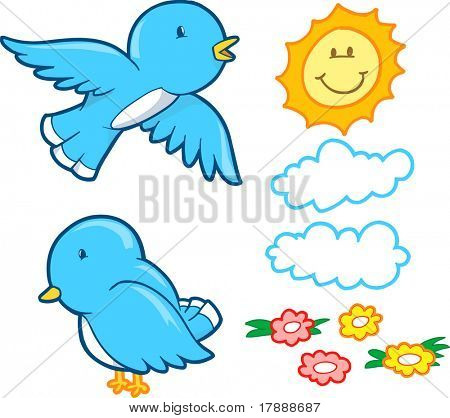 Vector Illustration of Bluebirds and elements