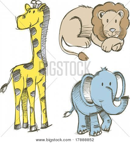 Sketchy safari Set Vector Illustration