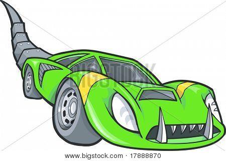 Green Dino Car Vector Illustration