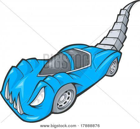Blue Dino Car Vector Illustration
