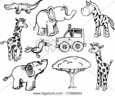 Sketchy Safari Set Vector Illustration