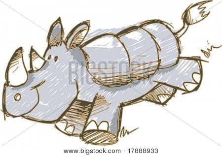 Sketch Rhinoceros Vector Illustration