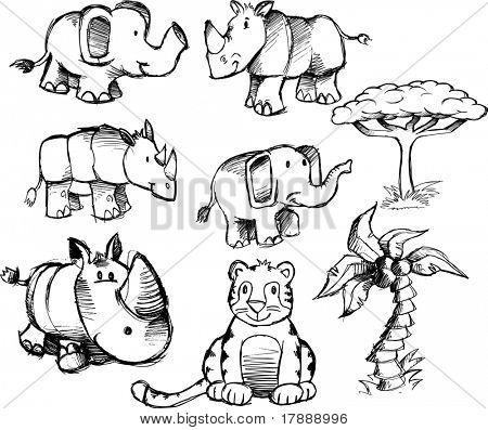 Ilustración de Vector Set Safari incompletos