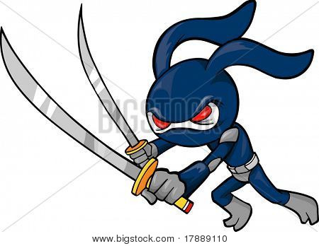 Ninja Rabbit Vector Illustration