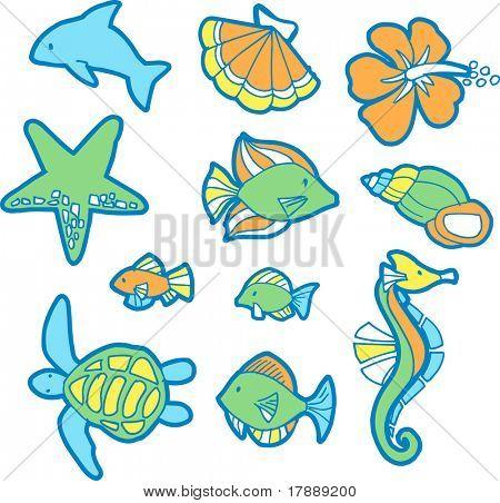 Tropical Ocean Set Vector Illustration