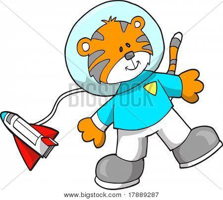 Tiger Astronaut Vector Illustration