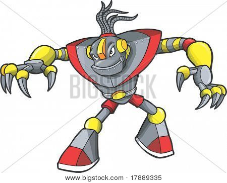 Robotic Warrior Vector Illustration